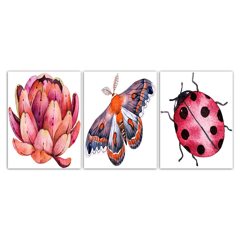 Wall-Art-Printing-Modern-Fashion-Nordic-Style-Poster-Ladybugs-Butterfly-And-Flower-Minimalism-Canvas-Paintings-Decor (2)