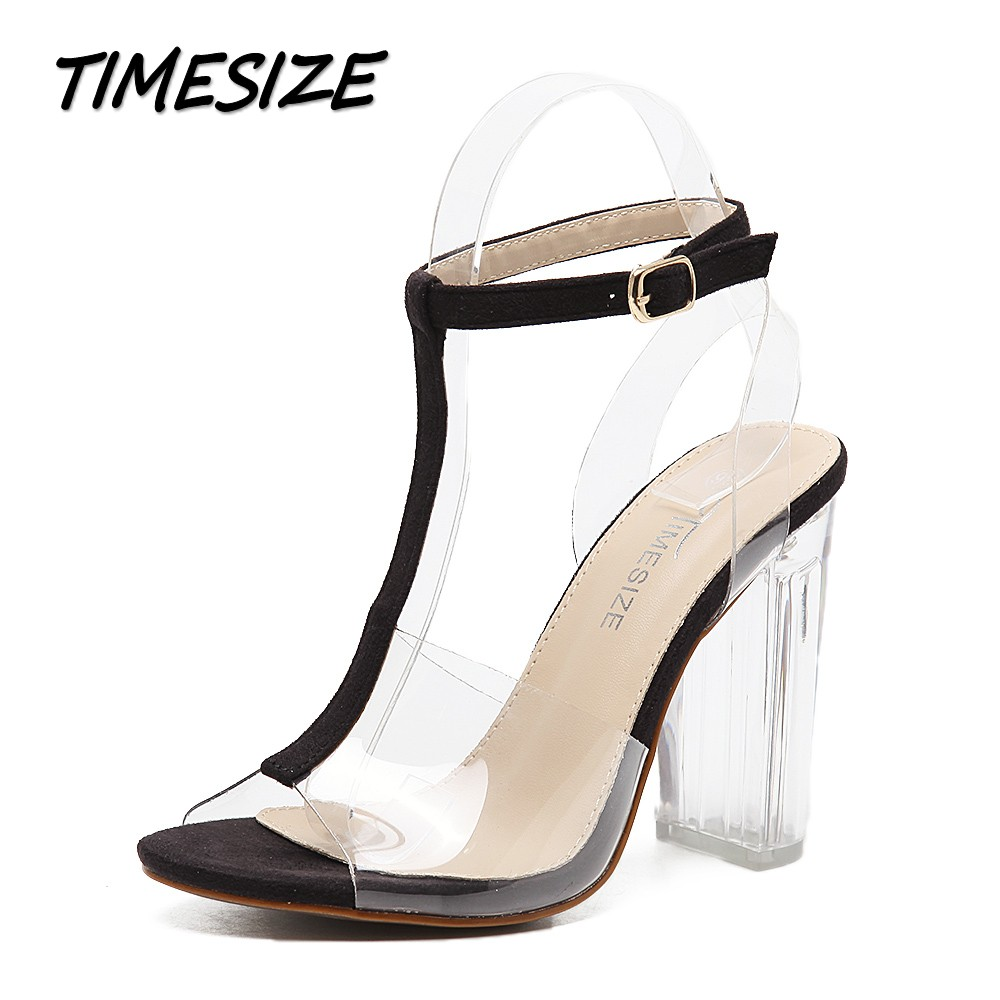 TIMESIZE women gladiator sandals ladies pumps high heels shoes woman Clear Transparent T-strap party wedding dress thick shoes fashion buttons rivet studs high heels designer gladiator sandals red black women pumps party dress sexy wedding shoes woman