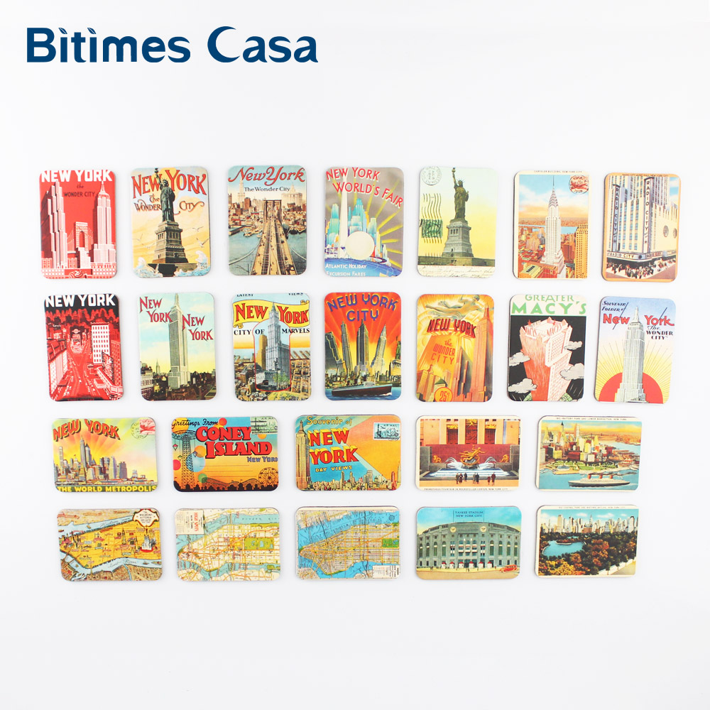 Bitimes 24 PCS New York Scenic Refrigerator Fridge Magnets Sets Souvenir Travel Magnetic Stickers Home Decoration image