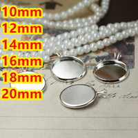 10mm 12mm 14mm 16mm 18mm 20mm 100pcs Silver Blank Pendant With Hanger Trays Bases Cameo Cabochon