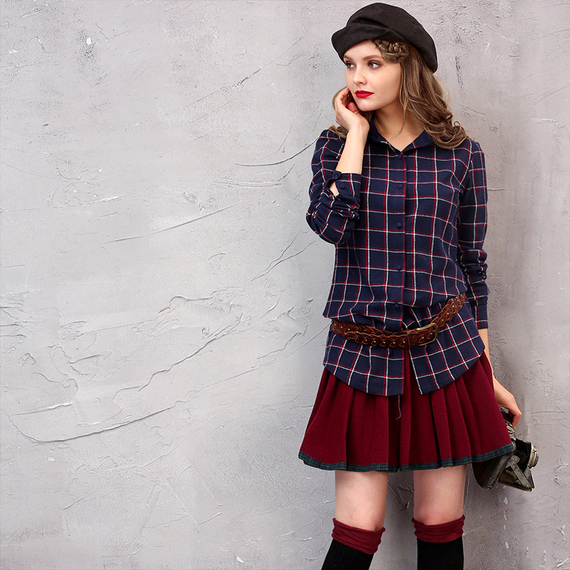 ARTKA Frauen Gefaltetes Festes Vintage Woolen Allgleiches Expansion Bottom Adrette Halbe Länge Mini Rock 2 QA10128D-in Röcke aus Damenbekleidung bei  Gruppe 1