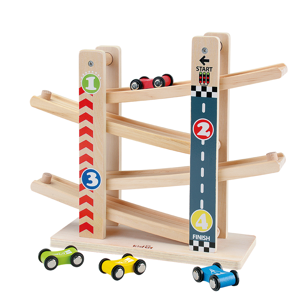 Kidus Race Track Wooden Cars Race Cars Toy Gift with 4 cars Toys For Children DiecastsKidus Race Track Wooden Cars Race Cars Toy Gift with 4 cars Toys For Children Diecasts