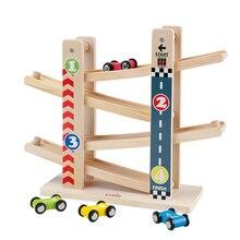 Kidus Ramp Race Track Houten Racing Cars Race Auto Speelgoed Gift met 4 auto Speelgoed Voor Kinderen Diecasts