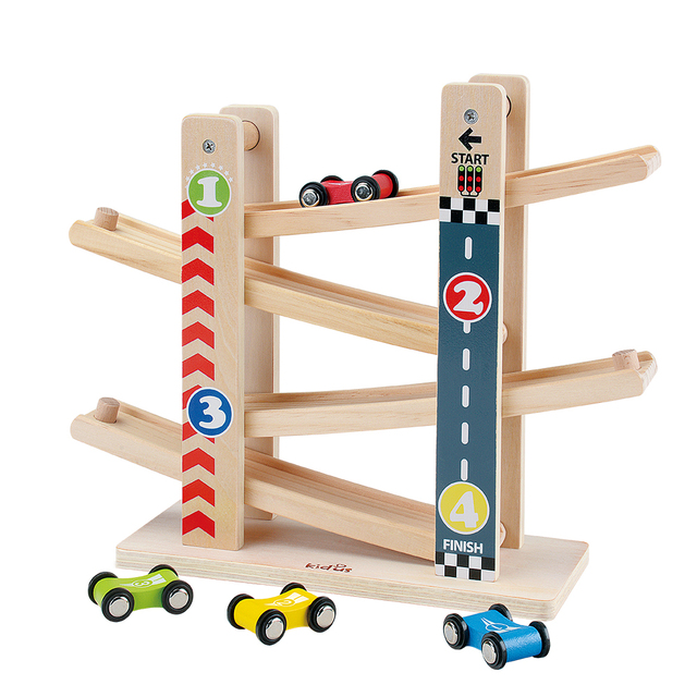Kidus Ramp Race Track Wooden Racing Cars Race Cars Toy Gift with 4 cars Toys For Children Diecasts