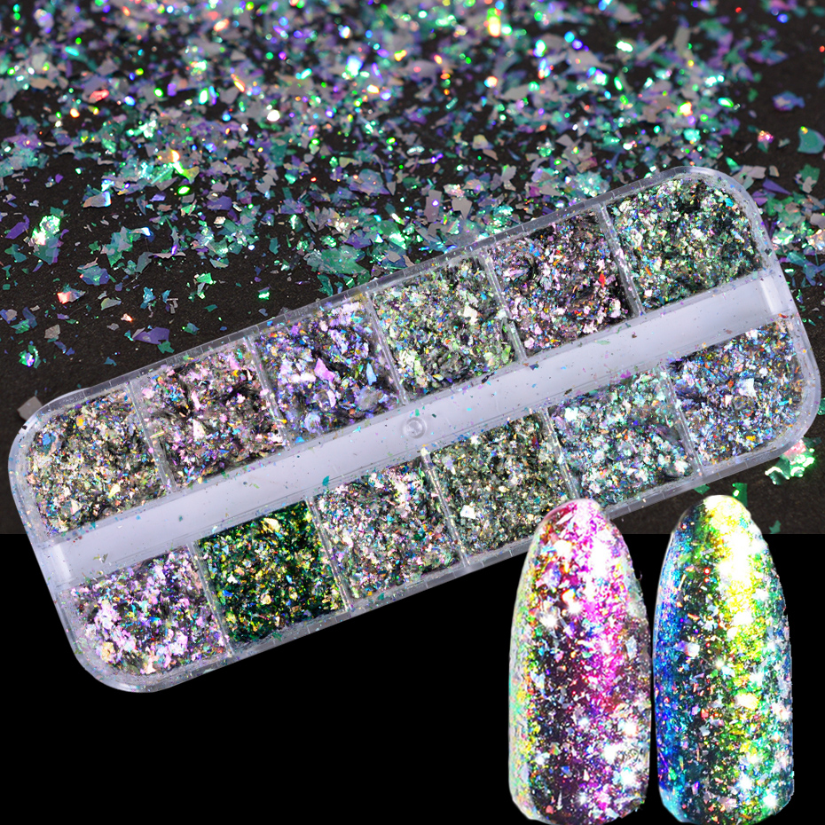 1pcs Nail Art Sequins Galaxy Aurora Chameleon Colorful Glitter 3D DIY Sparkly Paillette Flake Fashion Decoration For Nail TRBSZ 12pcs nail art sticker decoration gold silver paillette flake chip foil diy acrylic uv gel pager jan20