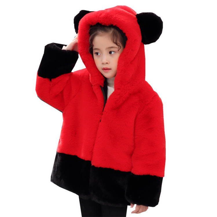 Children winter Clothes 2018 Faux mink Fur Coat boys and girls Hooded Overcoat Winter thick padded Coat Furry girls jackets furry hood drawstring pockets zip up padded coat