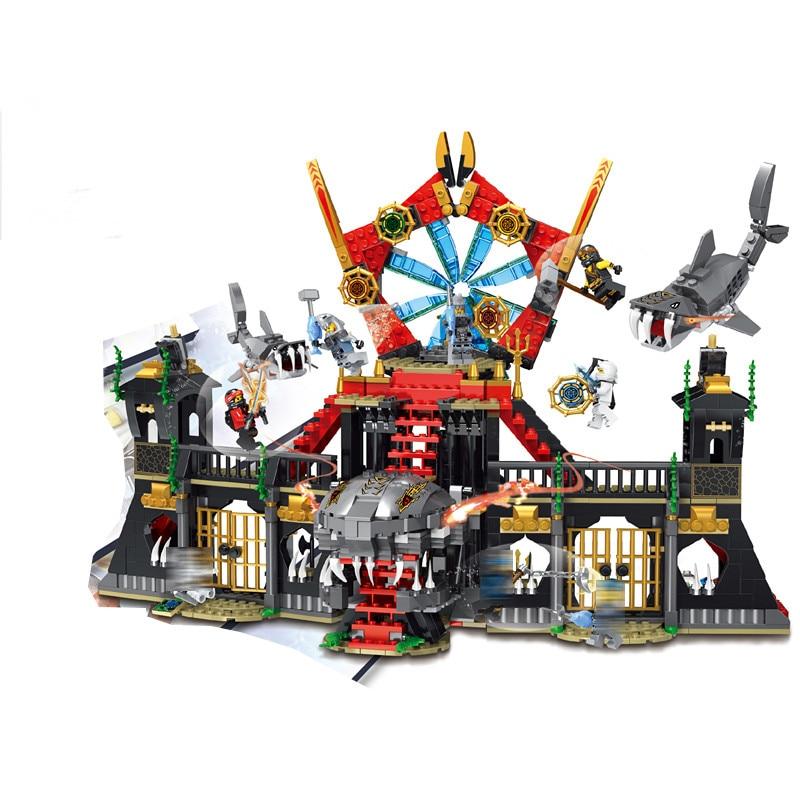 Decool 20013 Blocs Ninja battle marne Megalodon Construction Briques jouet pour les enfants cadeaux Fit pour Ninja Film Serie lepin 36010 l hiver village marche ensemble assemblage1412pcs 10235 blocs de construction briques jouets educatifs cadeaux