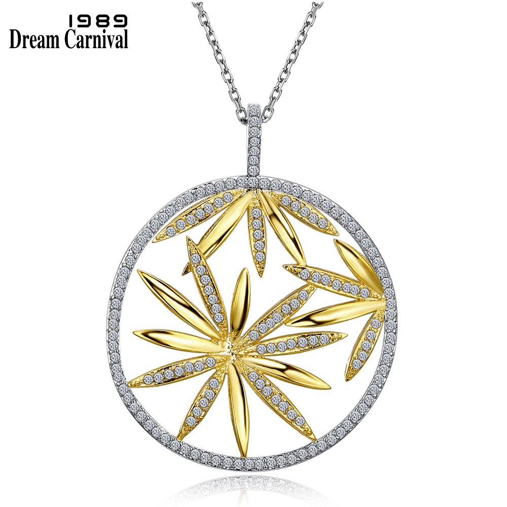 DreamCarnival 1989 Big Flower Pendant Necklace for Women Style Hollow Collier Bijoux Collana Zirconia 2 Tones Gold Color WP6431 punk style solid color hollow out rhinestone leaf shape pendant necklace for women