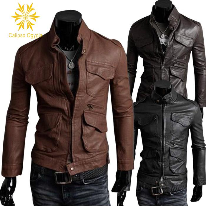 Mens 4 Pockets decoration Belted Fashion Air Force Pilot Motorcycle Coat Faux Fur+leather Jacket Trench Coat COML63