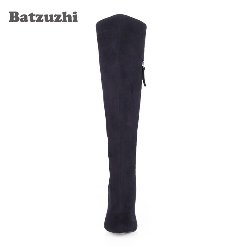 Batzuzhi-Big Size 35-43 Women Boots Knee High Boots Women Sexy High Heels Long Boots Women Party Black Suede Long