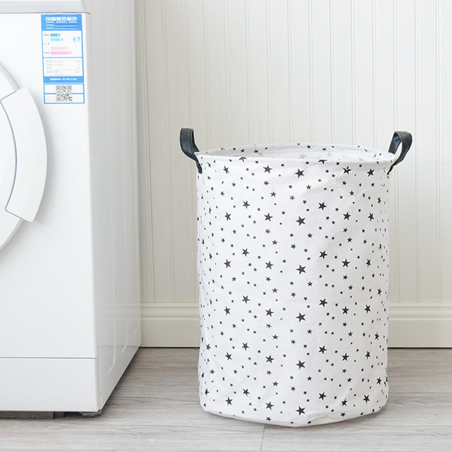 Multi-function Foldable Waterproof Laundry Basket Toys Indoor 300g Storage Small Stars Bucket White Black