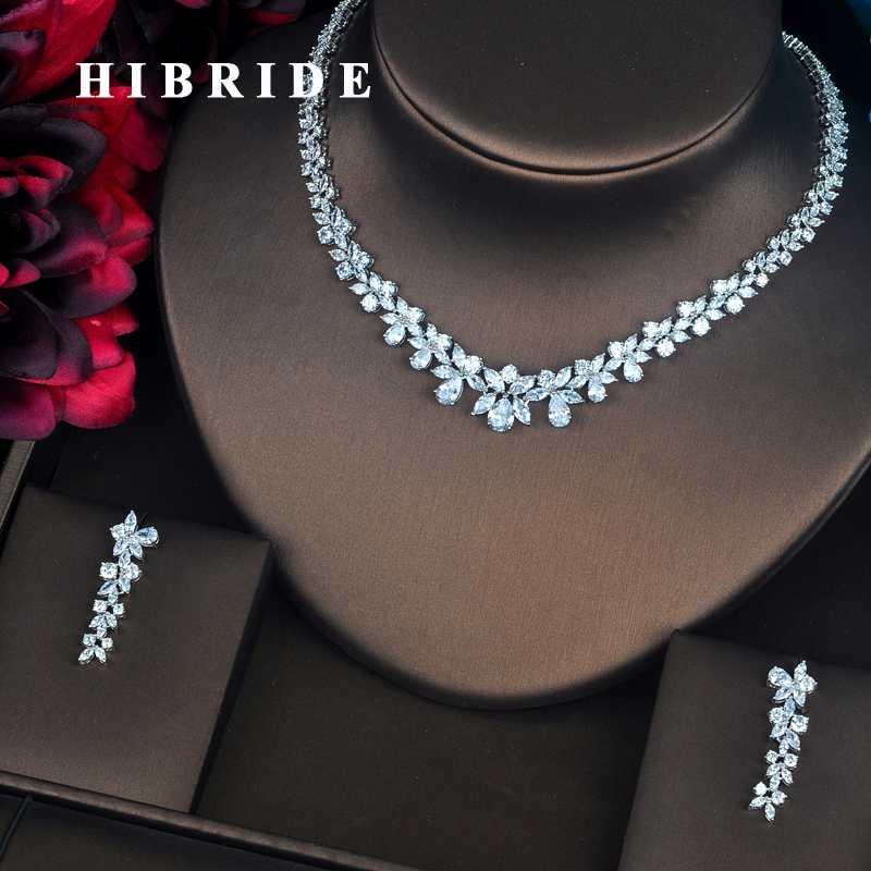 HIBRIDE Beautiful Flower Shape Clear AAA Cubic Zirconia Stone Women Jewelry Set Necklace Set Accessories Wholesale