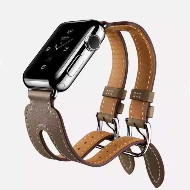 03bba1cbffbd ... ebay véritable cuir montre bracelet bande pour apple montre hermes  double boucle manchette ceinture bracelet 42mm