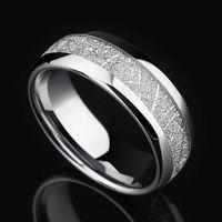 2017 Vintage Men 8mm Silver Tungsten Carbide Ring Meteorites Pattern Wedding Engagement Band Domed Comfort Fit