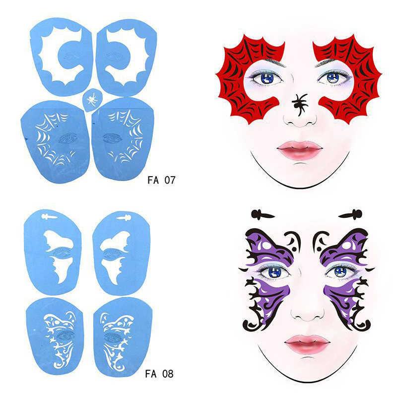 Reusable Soft Face Paint Stencil Body Art Template Festival Airbrush Eye Makeup Painting Stencils Glitter Face Tattoo Halloween Aliexpress
