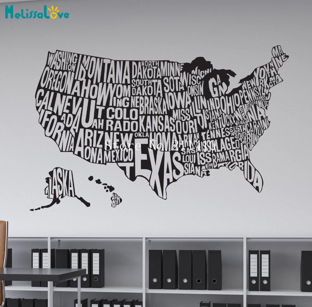 New Design Word Vinyl Wall Decal Sticker Home Decoration Living Room Bedroom United States Map Removable Art Murals Gift YY776