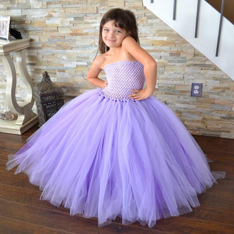 Burgundy Flower Prom Girl Dresses With Fluffy Tulle -8723