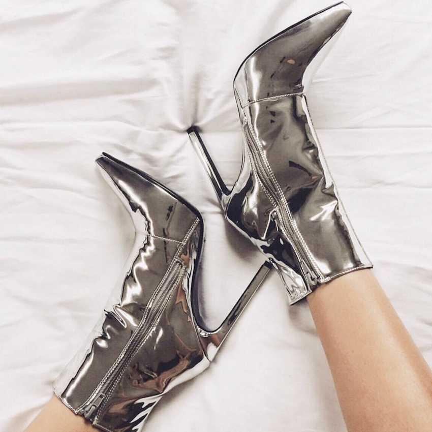 10,5 cm Damen Stiefeletten Frau Plattform Heels Stiefel Frauen Winter Botas Hohe Ferse Stiefel Gold Silber Patent Leder Winter schuhe