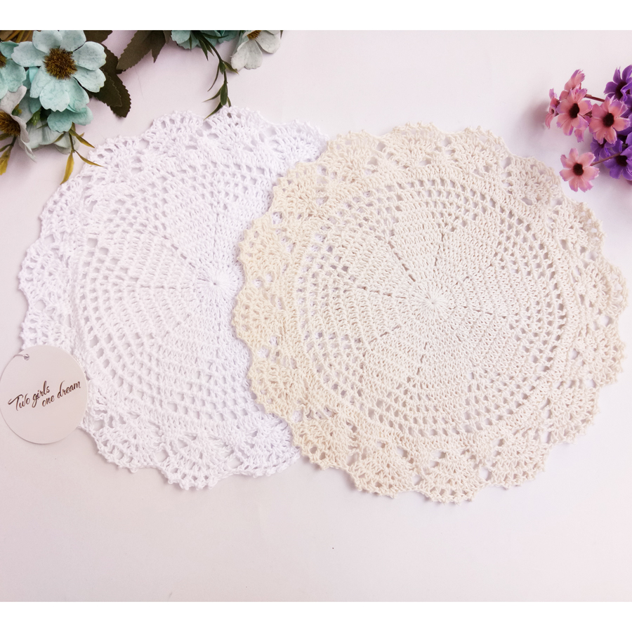 Handmade Crochet Coaster Doily Flower Tray Pad Decoration Shooting
