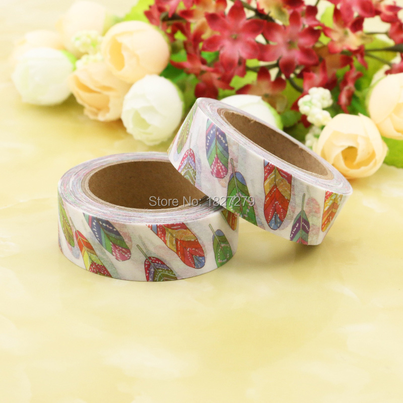 1pcs NEW 15mm*10m Colorful Feather Decorative Washi Tape DIY Scrapbooking Masking Tape School Office Supply Escolar Papelaria