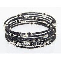 סיטונאי האופנה תכשיטי מתנת היום של אמא בדימוס silpada 925 כסף אוסטרי קריסטל צמיד לעטוף חרוז זכוכית שחורה ספינה חינם