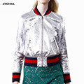 2016 Women Wholesale Fashion Metallic Baseball Uniform Jacket Bomber Jacket Coat Pilots Outerwear