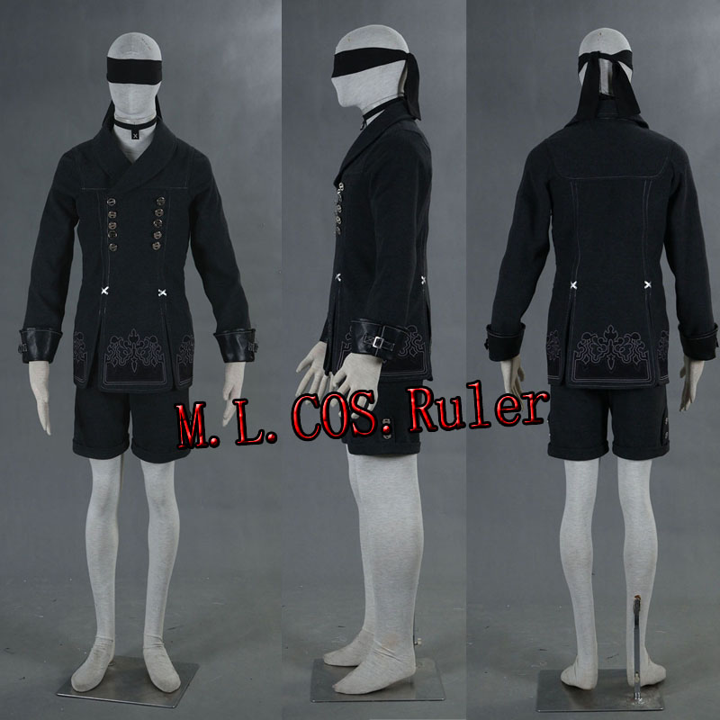 Free Shipping Cosplay Costume From NieR:Automata 9S YoRHa No. 9 Type B Cosplay Costume Jacket Shorts Blinder Necklace