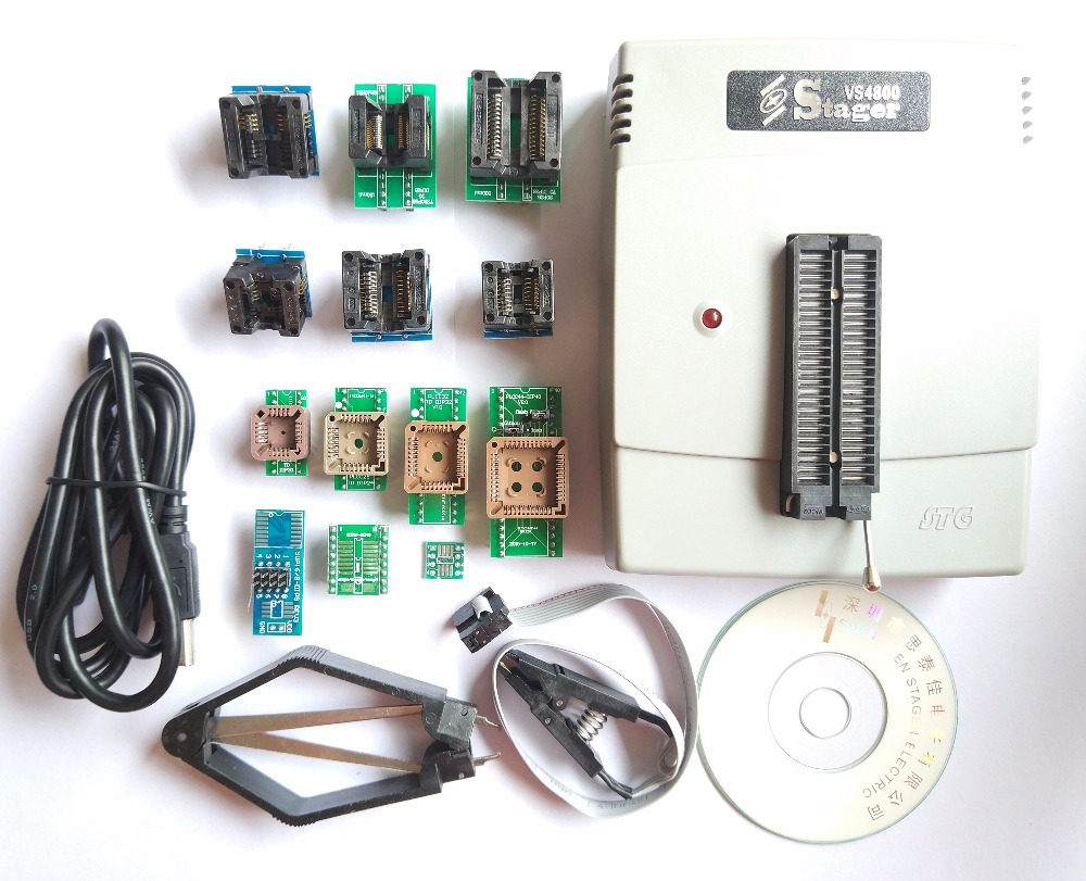 VS4800 programmeur universel GAL EPROM FLASH 51 AVR PIC MCU SPI + SOP8 SOP28 tssop28 plcc44 32 28 20 prise + 12 adaptateurs IC clip
