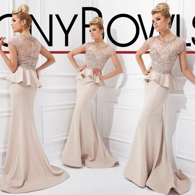 Elegant Sheath Evening Dresses Crystal Beading Peplum Draped Formal Evening  Dresses Two Pieces Lace Top Short Sleeve Woman Dress f4dc7d9206c9