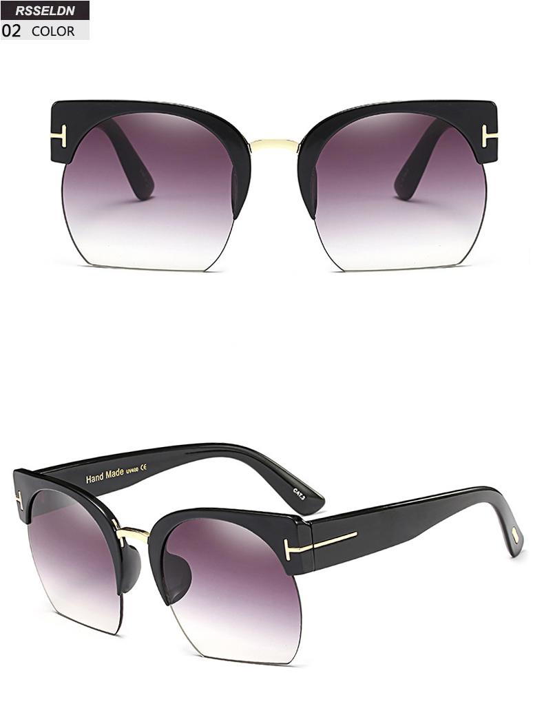 HTB14JlDSpXXXXcOapXXq6xXFXXXw - RSSELDN Newest Semi-Rimless Sunglasses Women Brand Designer Clear Lens Sun Glasses For Women Fashion Sunglass Vintage oculos