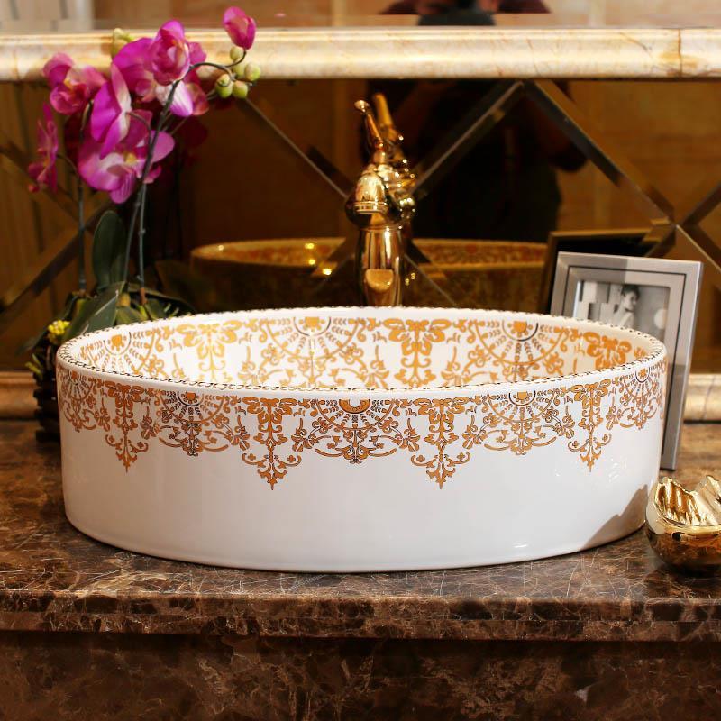 Ovale Form Europa Stil Jingdezhen Keramik Waschbecken Waschbecken Keramik  Arbeitsplatte Waschbecken Badezimmer Waschbecken Designer Vessel Sinks In  Ovale ...