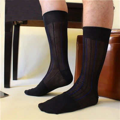 2017 Men sheer dress suit socks Navy Sexy Silk gay stockings Gay Long socks FOR male Gay leather shoes socks Fetish collection