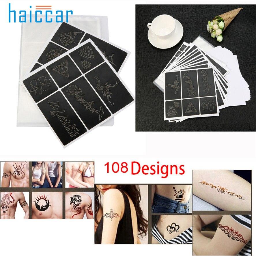 108 diseños brillo Plantillas para tatuar libro nueva moda plantilla ...
