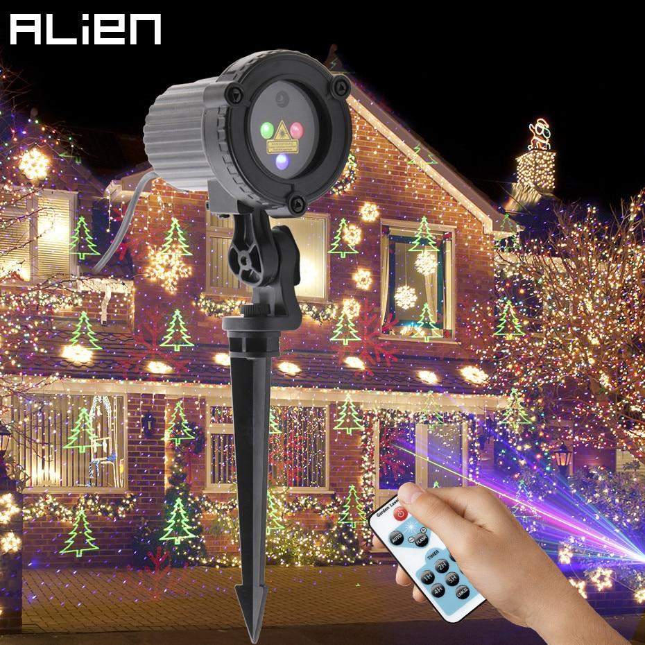ALIEN RGB Remote Static Star Christmas Tree Snowflake Laser Light Projector Garden Outdoor Waterproof Xmas Holiday