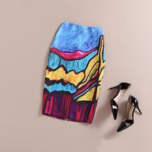 Fashion Women 2016 New Print Office Skirt Spring Summer Knee-Length Pencil Back Split Skirts High Quality Faldas Saia Midi Femme