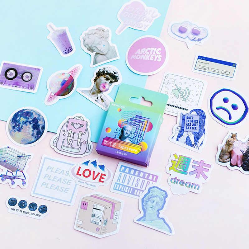 45PCS/Kotak Alat Tulis Stiker Vaporwave DIY Planet Lengket Kertas Kawaii Bulan Tanaman Stiker untuk Dekorasi Diary Scrapbooking