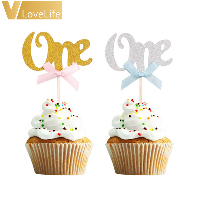 Astounding 6Pcs Cupcake Topper First Birthday Cake Gold Silver Sparkling One Funny Birthday Cards Online Aboleapandamsfinfo