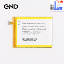 1d2c5c47d5d136 GND 2700mAh/10.26Wh 3.8V BAK V406075P Replacement Battery For Archos 50  Diamond Built-in Li-ion bateria Li-Polymer Batterie