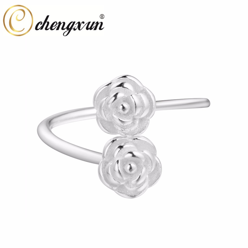 CHENGXUN Stackable Flower Ring Girl Lady Jewelry Pure White Double Rose Midi Finger Ring 925 Sterling Silver for Girlfriend