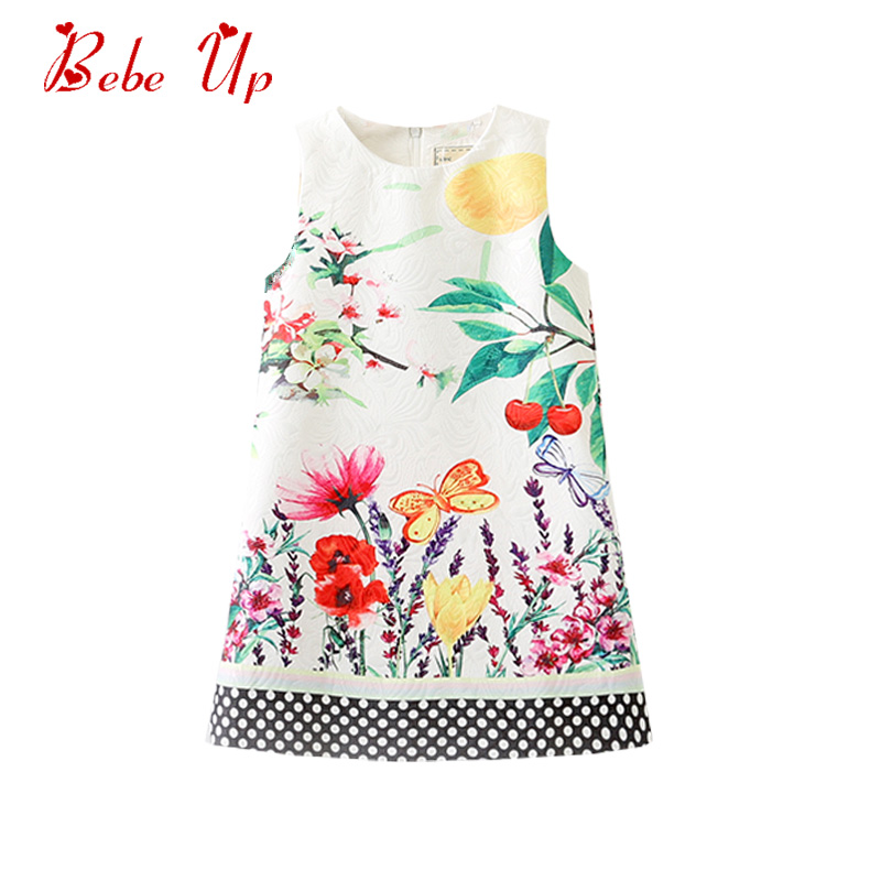 Toddler Girls Summer Floral Dress Elegant Dress For Little Girl Flower Butterfly Print Girl Princess Dresses Kids Clothes SUmmer