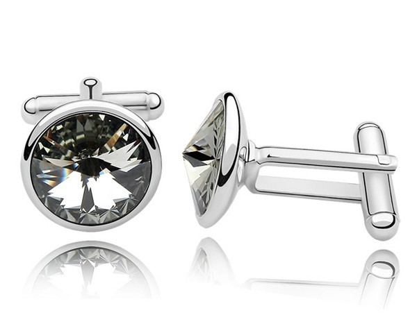 Austrian Gray Crystal Shirt's Cuff Links White Gold Plated Birthday Gifts For Men Jewelry Free Shipping