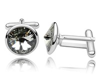 Gray Austrian Crystal Shirt S Cuff Links White Gold Plated Alloy Free Shipping Men Jewelry Birthday