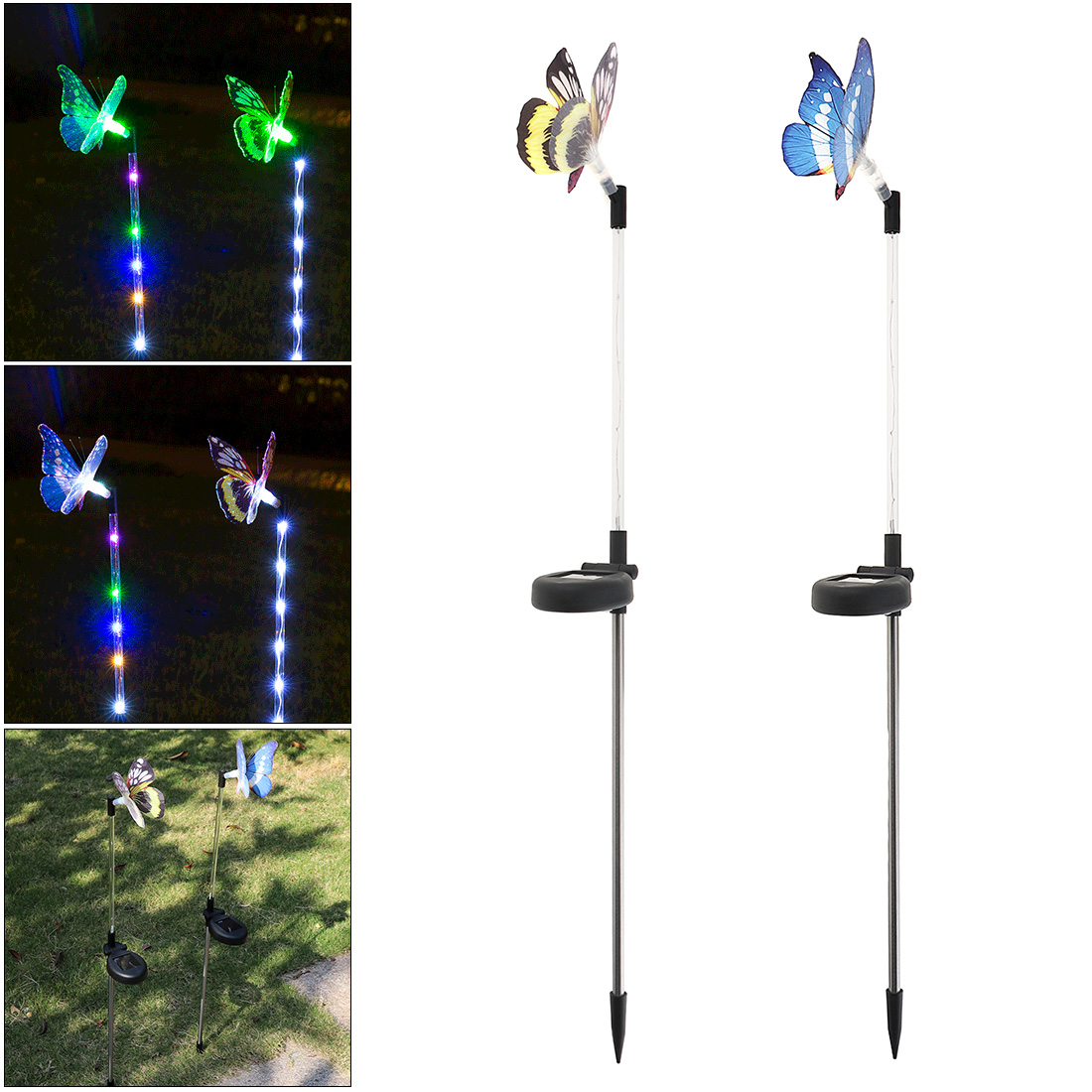 New 2pcs Solar LED Stainless Steel Butterfly Lamp with Light-Operated and On / Off Control for Garden Decoration