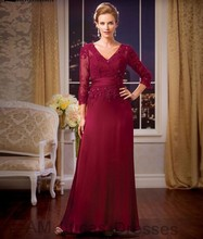 Luxury Burgundy 2016 Mother of The Bride Dresses With Sleeves Lace Elegant For Wedding Evening Party Gowns Women Formal Dress