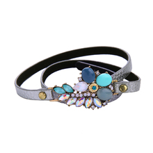 Imitated Jewelry Rhinestone Crystal Vintage High Quality Gold Plated Long Chain Friendly Statement Imitateion Leather Bracelets