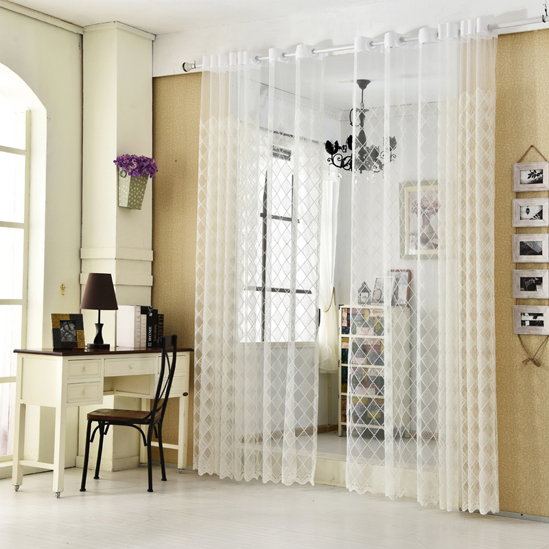 White Embroidered Curtains Tulle Window Decoration Modern Plaid Sheer Curtains For Kitchen