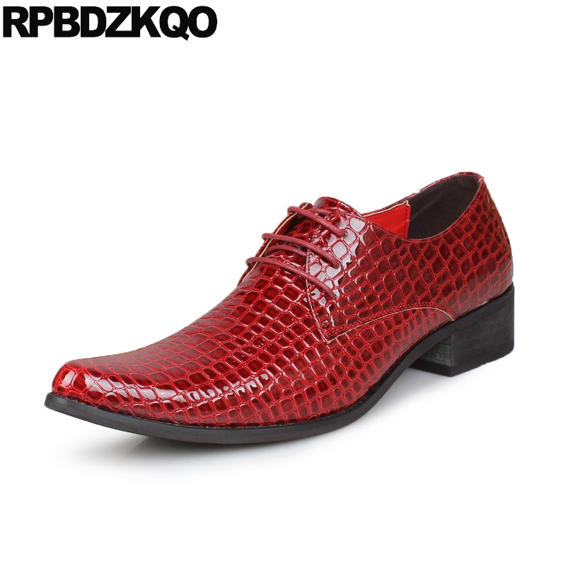 Alligator Casual Crocodile Red European Oxfords Pointy Toe 2017 Fashion Shoes Italy Party Spring Autumn Popular Hot Sale Stylish spring autumn european mens dress wedding shoes iron pointy classic genuine leather loafers red crocodile skin prom shoes