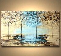 Grande Pintado À Mão Pinturas de Árvores Naturais Faca Pintura A Óleo Da Paisagem Abstrata Moderna sobre Tela Home Decor Wall Art Pictures