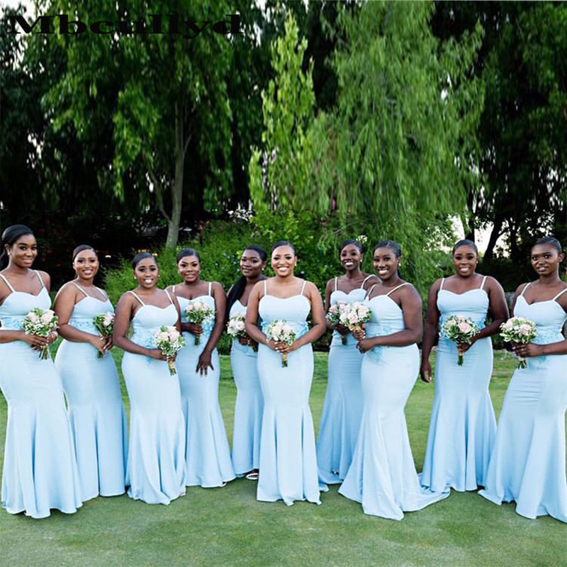 Mbcullyd Wholesale Price Mermaid Long Bridesmaid Dresses For Women 2020 Sexy Spaghetti Strap African Maid Of Honor Dress
