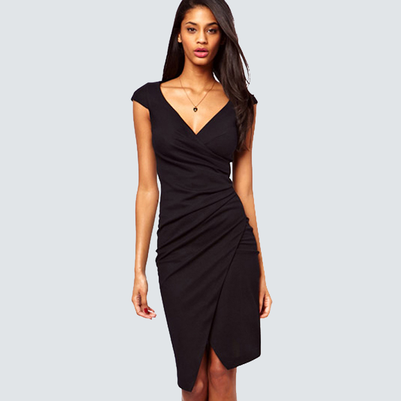 Women Sexy V-Neck Ruched Slit Party Dress Summer Casual Short Sleeve Sheath Bodycon Classic Black Dress H728